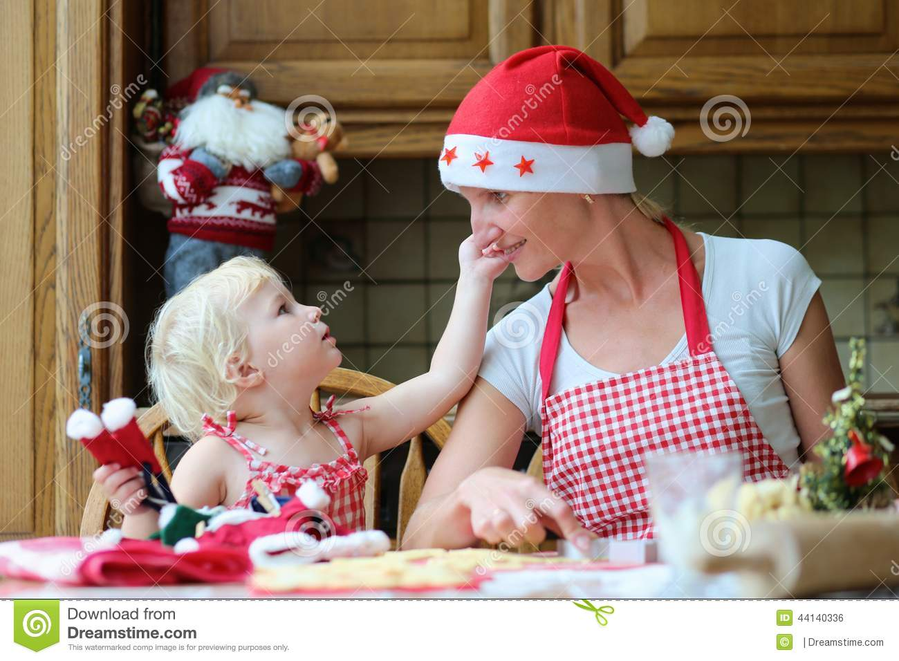 Mother And Daughter Baking Christmas Cookies Stock Photo Image Of