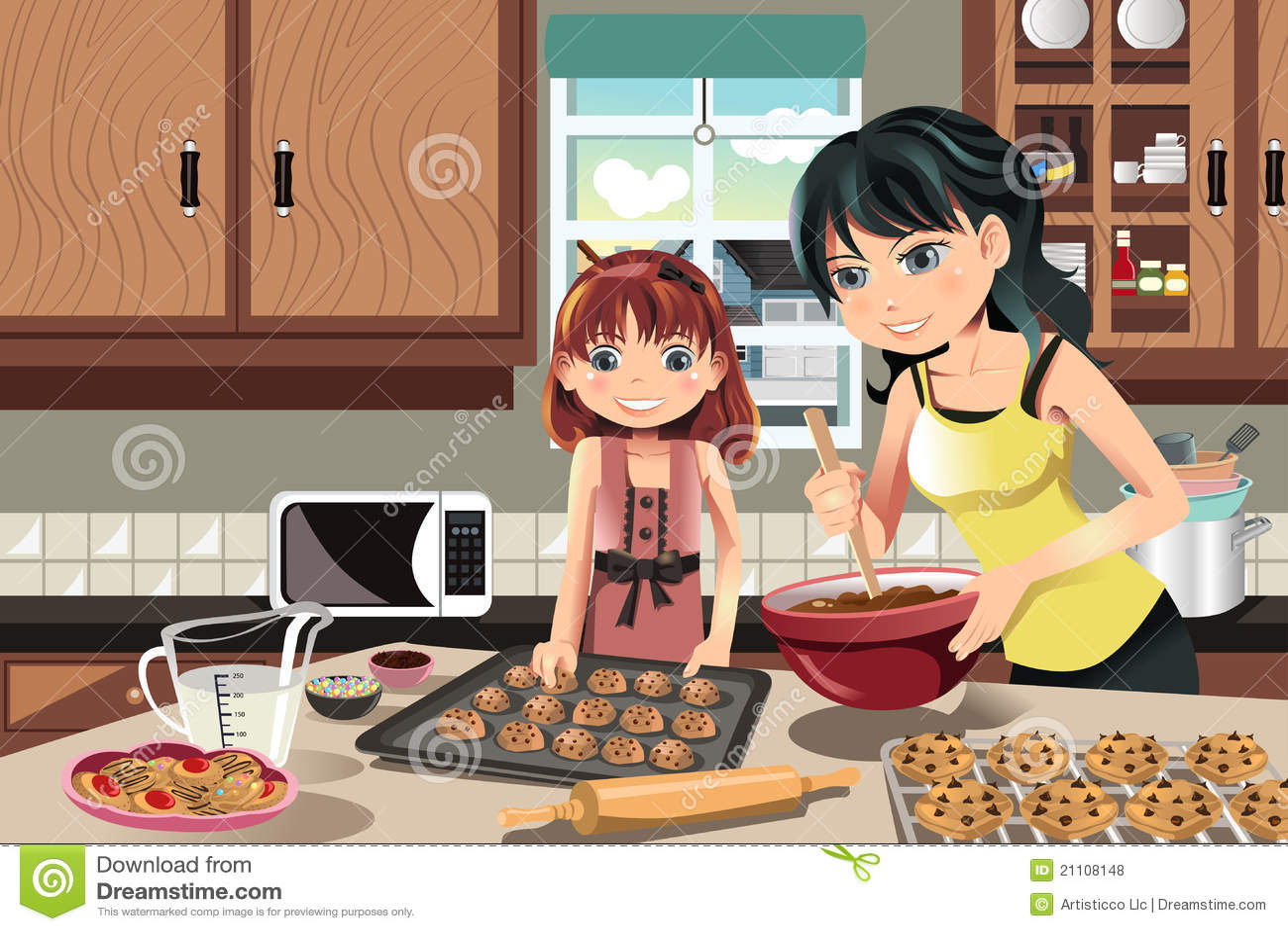 Mother Daughter Baking Cookies Stock Vector - Illustration ...