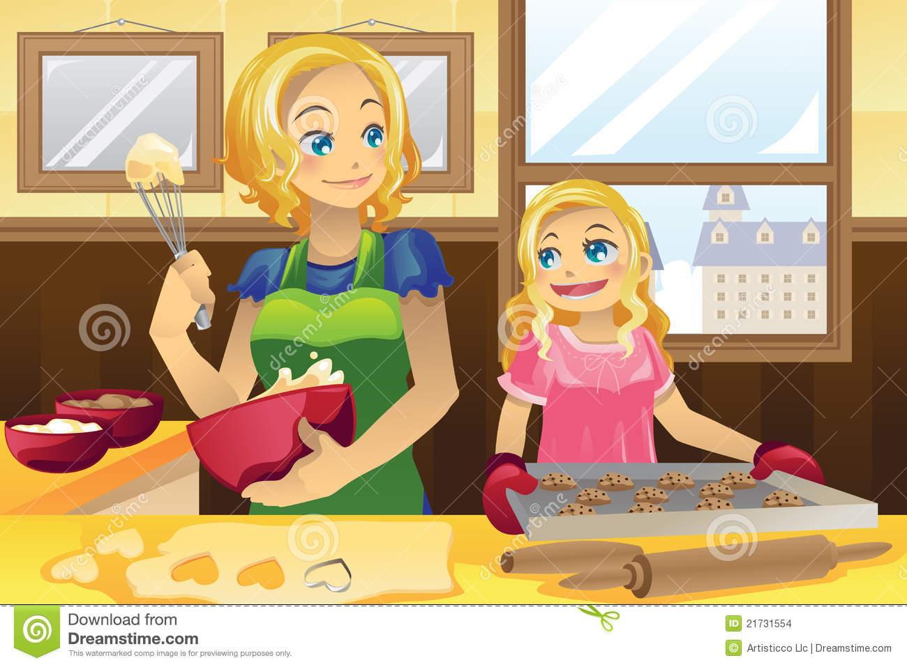 Mother Daughter Baking Cookies Stock Images - Image: 21731554