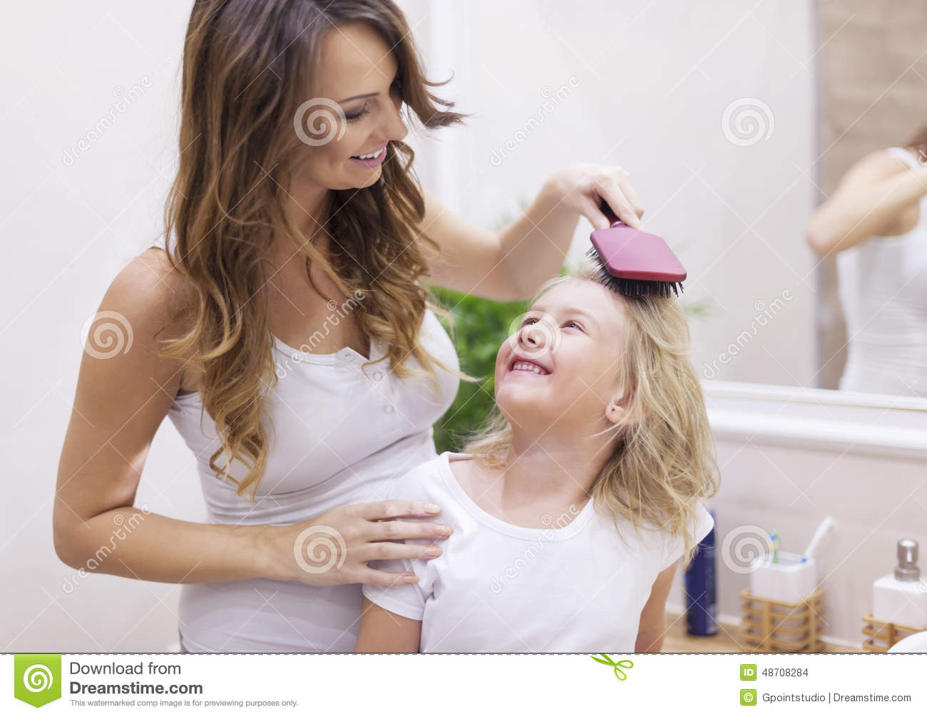 Mother And Daughter In Bathroom Stock Photo Image 48708284