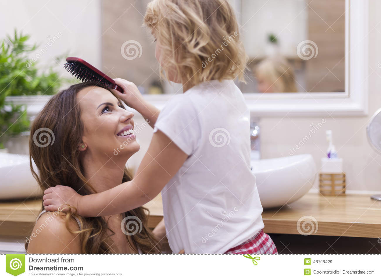 Mother And Daughter In Bathroom Stock Image Image 48708429
