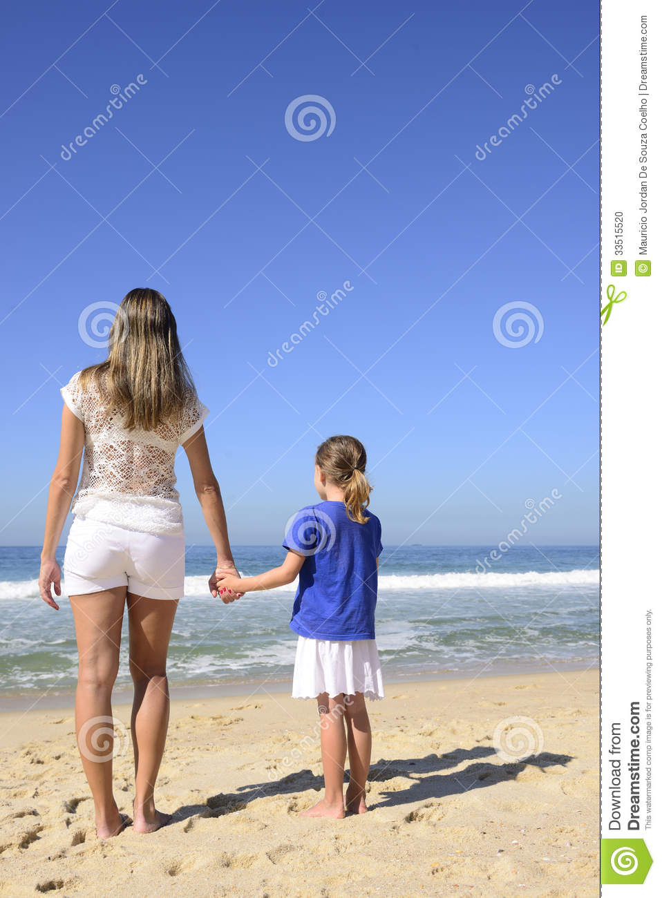 naked mom and daughter on the beach