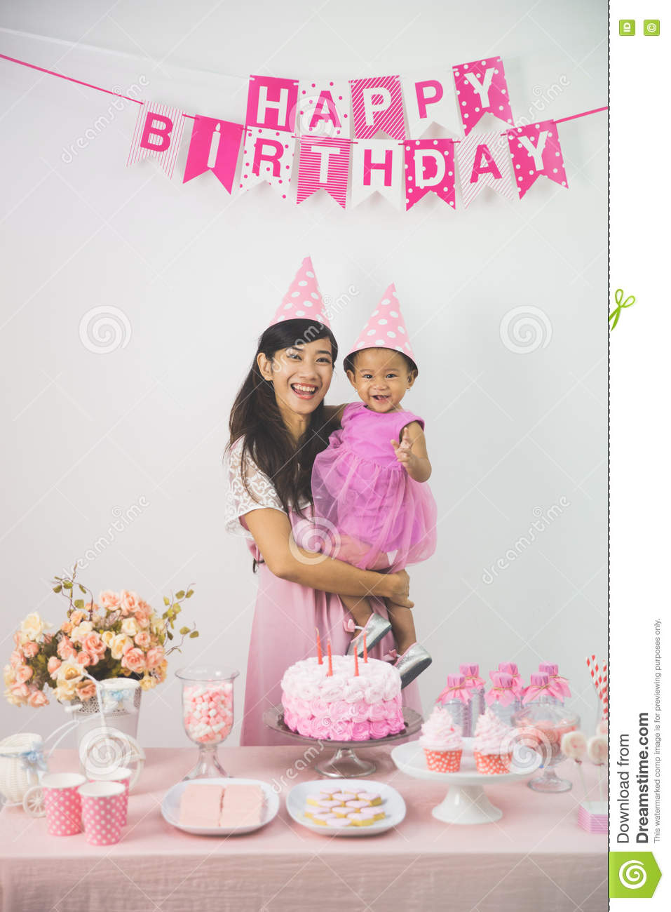 Mother And Daughter Celebrating Birthday Stock Image - Image
