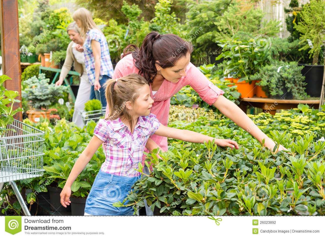 Mother and daughter in garden stock photography for Choosing plants for landscaping