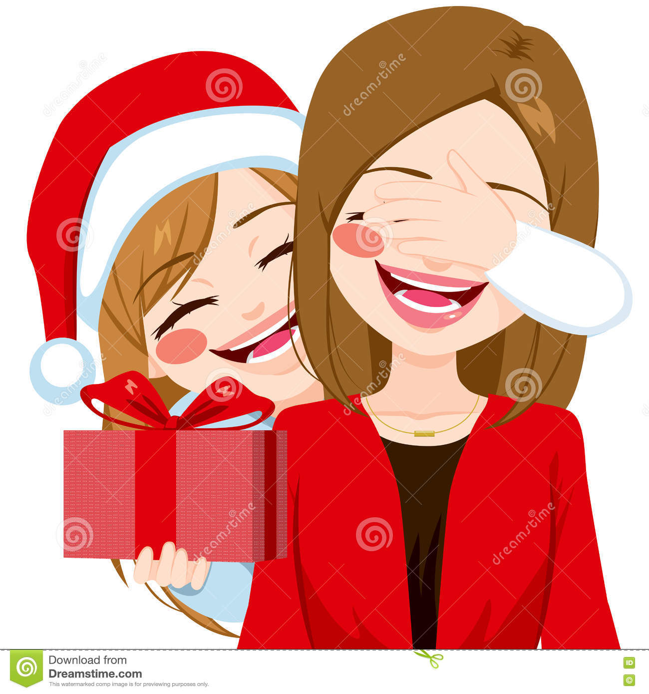 Mother Daughter Christmas Gift Giving Stock Vector - Illustration of ...