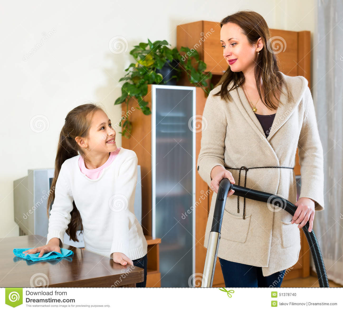 Mother and daughter cleaning house stock photo image for House cleaning stock photos