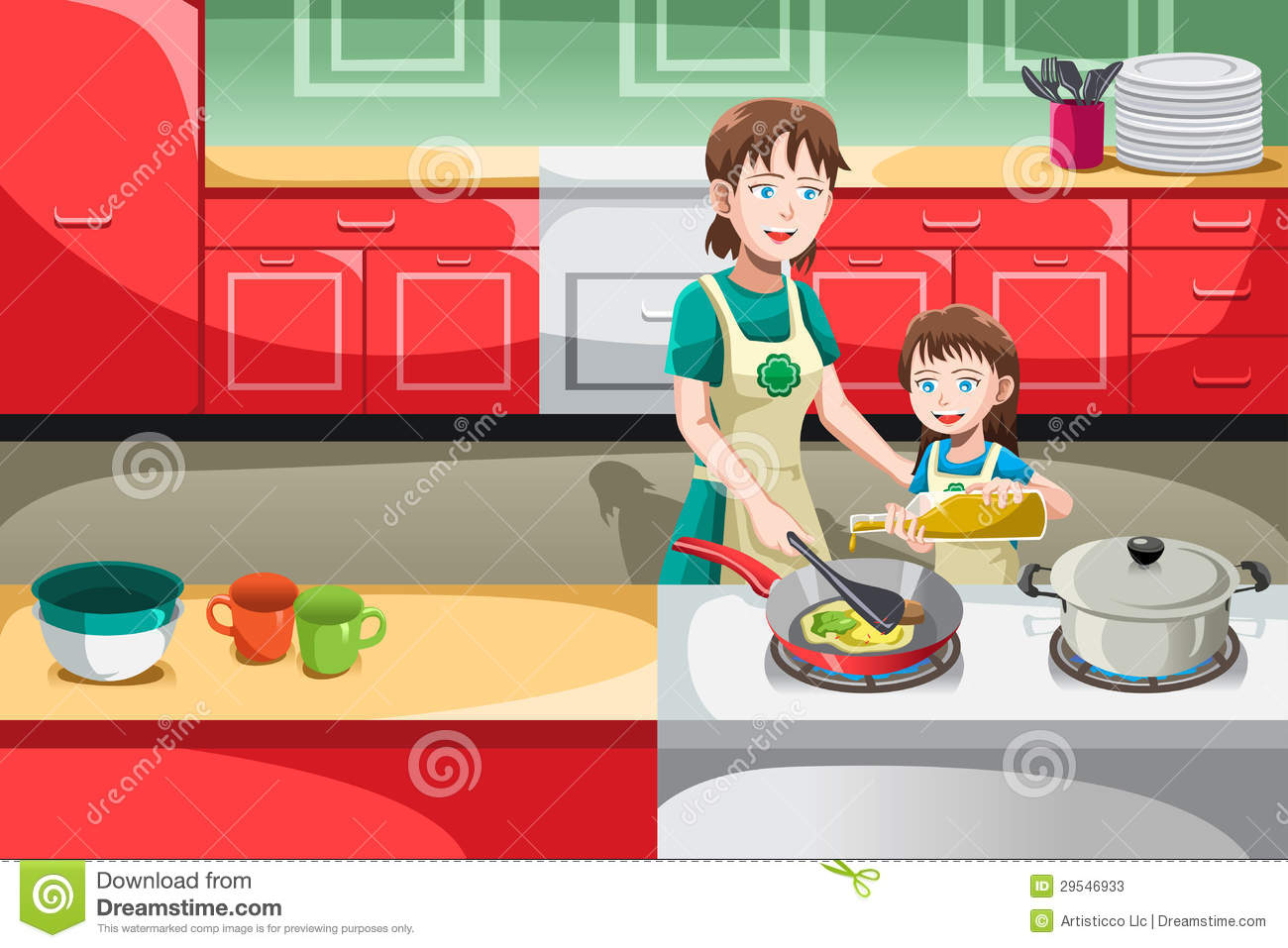 vector illustration of mother and her daughter cooking in the ...