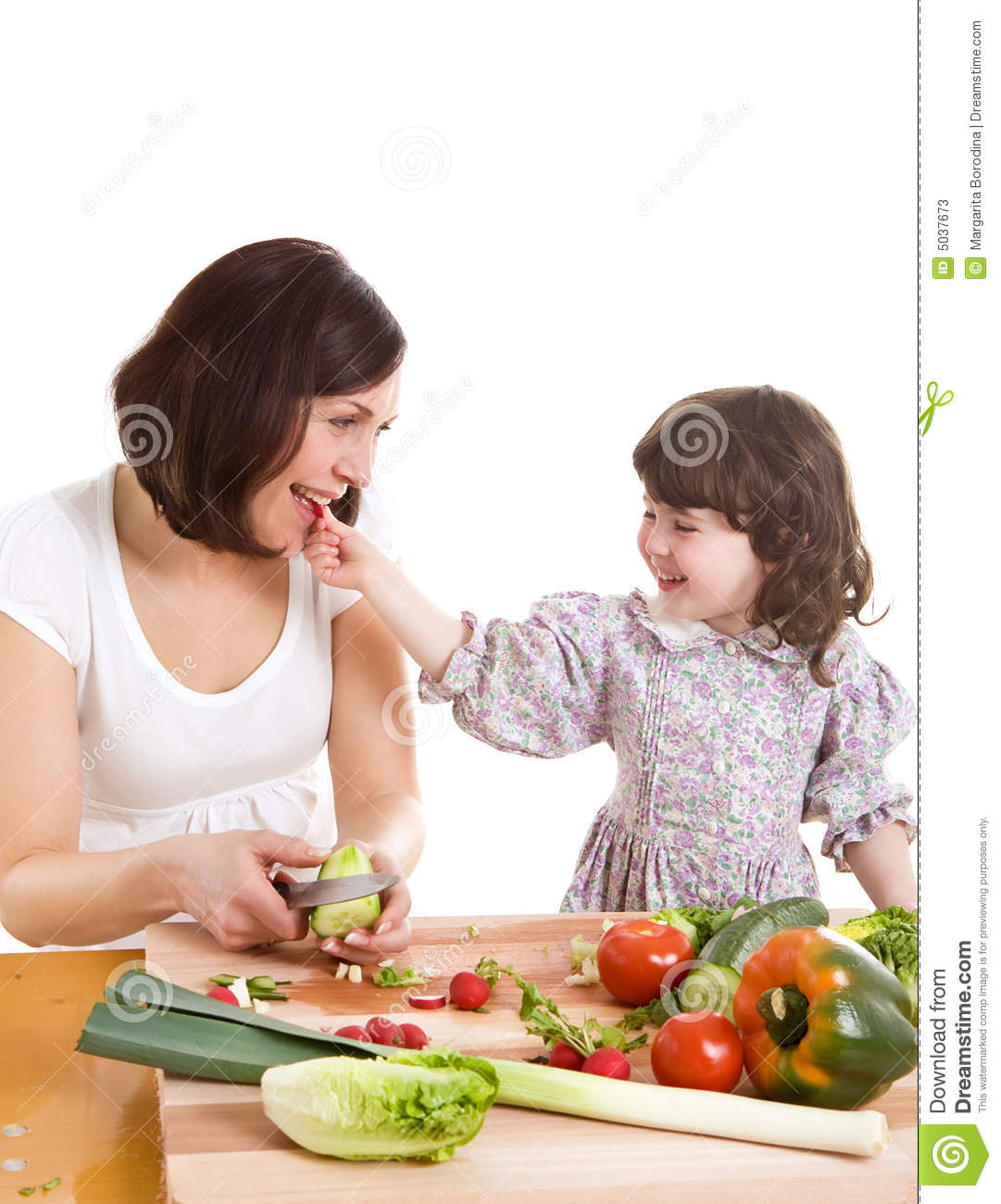 Mother And Daughter Cooking At The Kitchen Stock Image Image 5037673