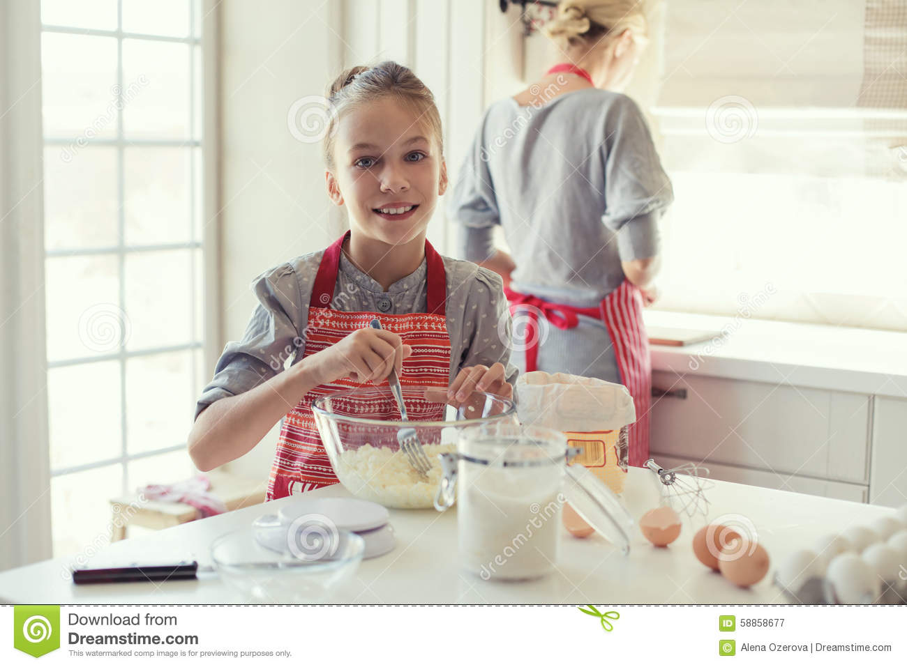 Mother And Daughter Are Cooking Stock Photo Image 58858677