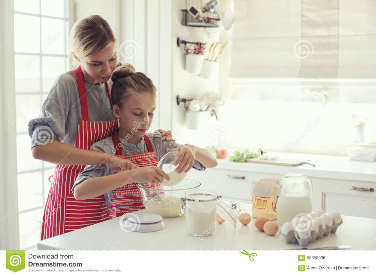 Mother And Daughter Are Cooking Stock Photo Image 58858936