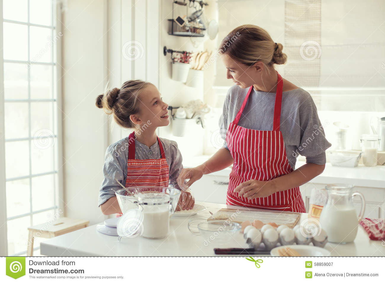 Mother And Daughter Are Cooking Stock Photo Image 58859007
