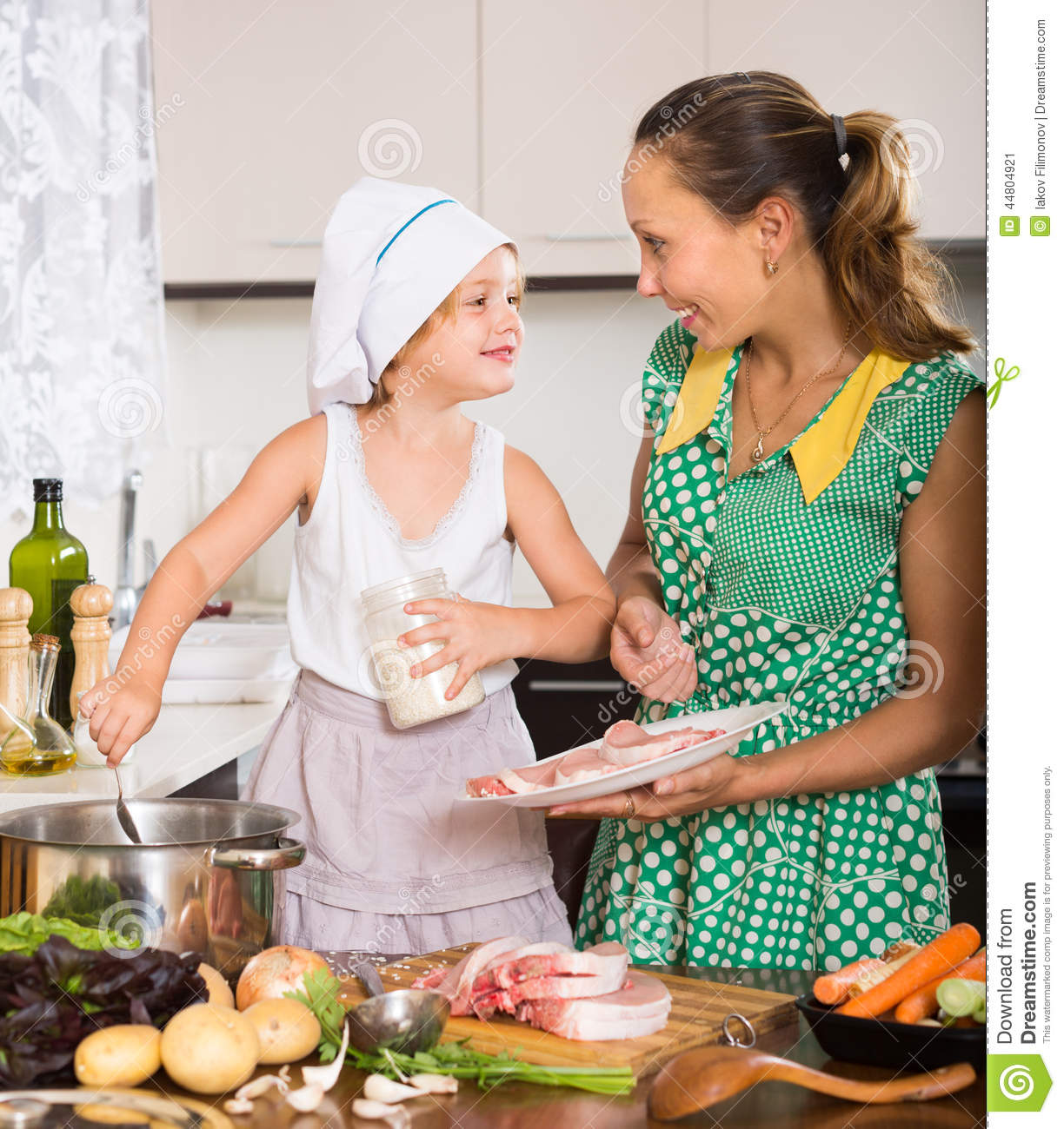 Mother With Daughter Cooking Stock Photo Image 44804921