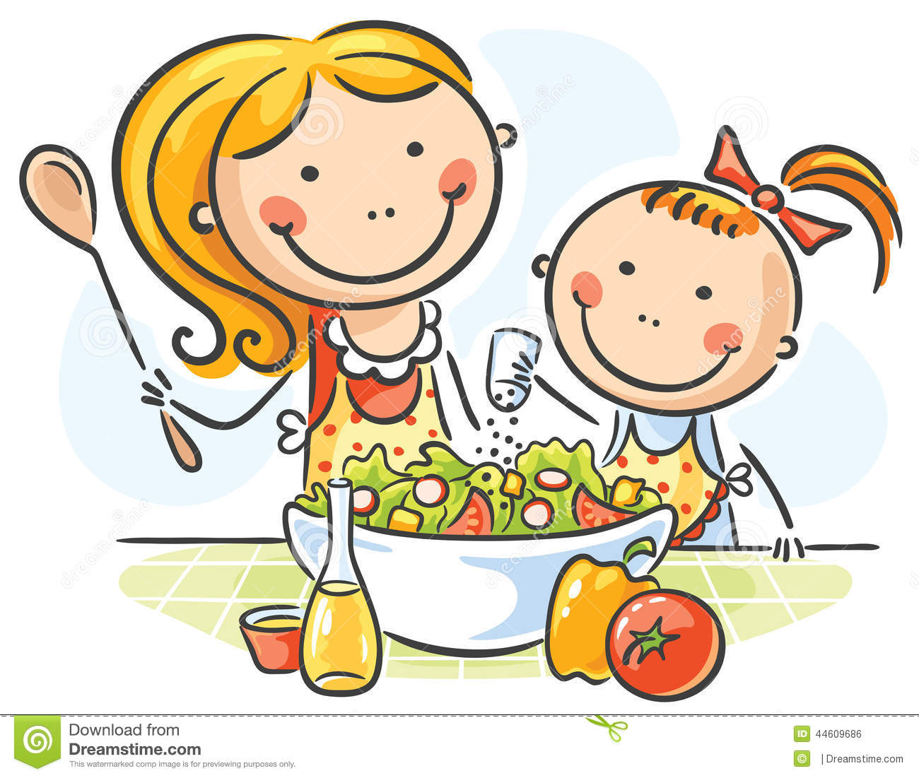 Kitchen Center Clipart: Mother And Daughter Cooking Stock Vector