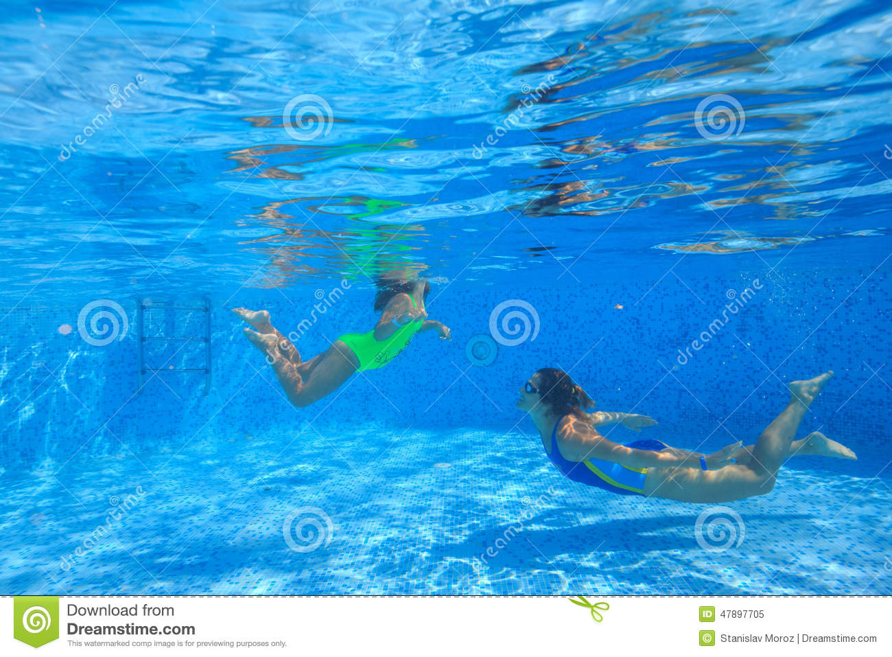 Mother And Son Swimming Under Water Stock Image - Image of