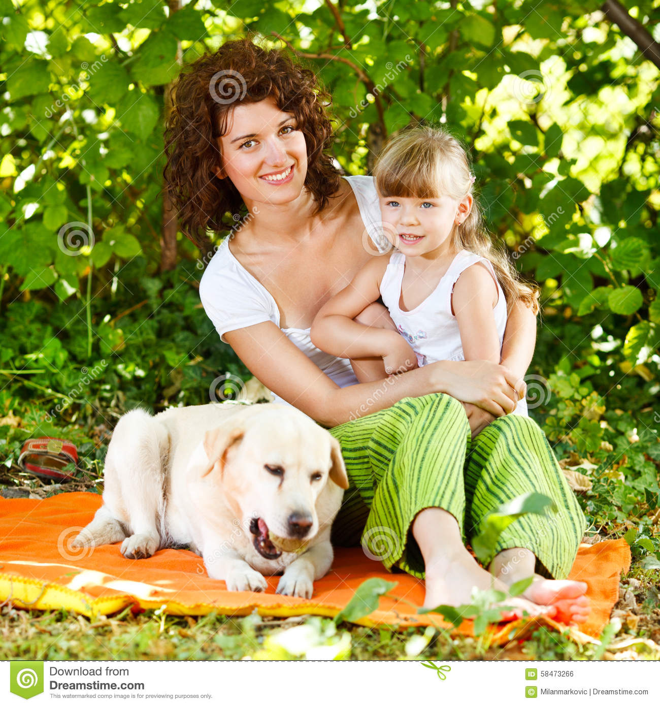 Mother Daughter Dog Home Portrait Happy Stock Photo ... |Dog Mom And Daughter
