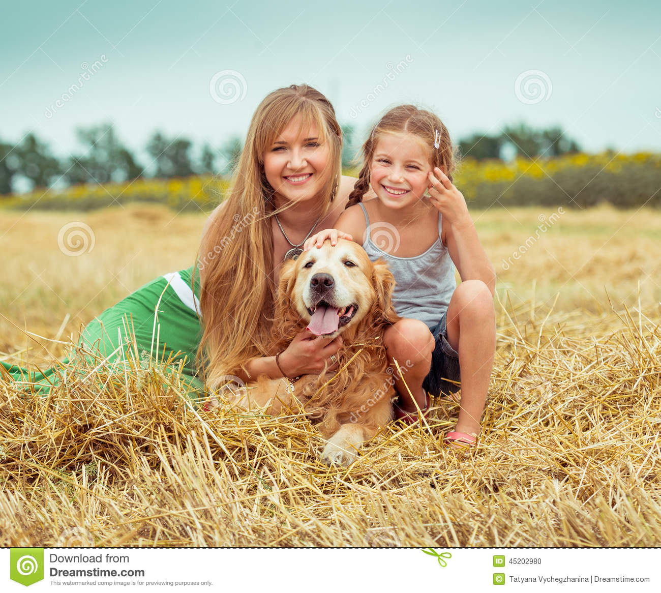 Portrait Of Mother And Daughter With Dog Sitting On Rug At ... |Dog Mom And Daughter