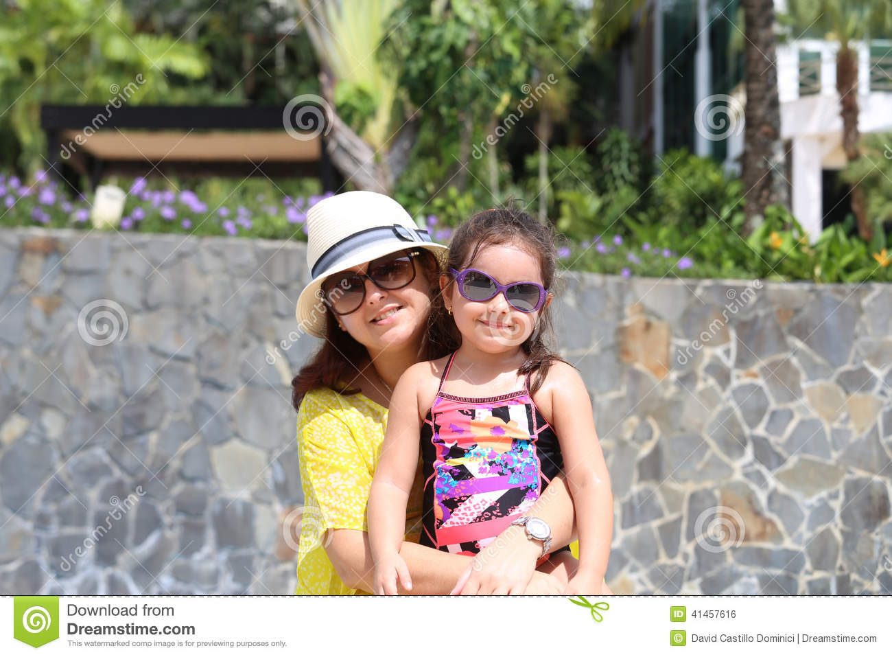 Mother and daughter enjoying the summer outdoors