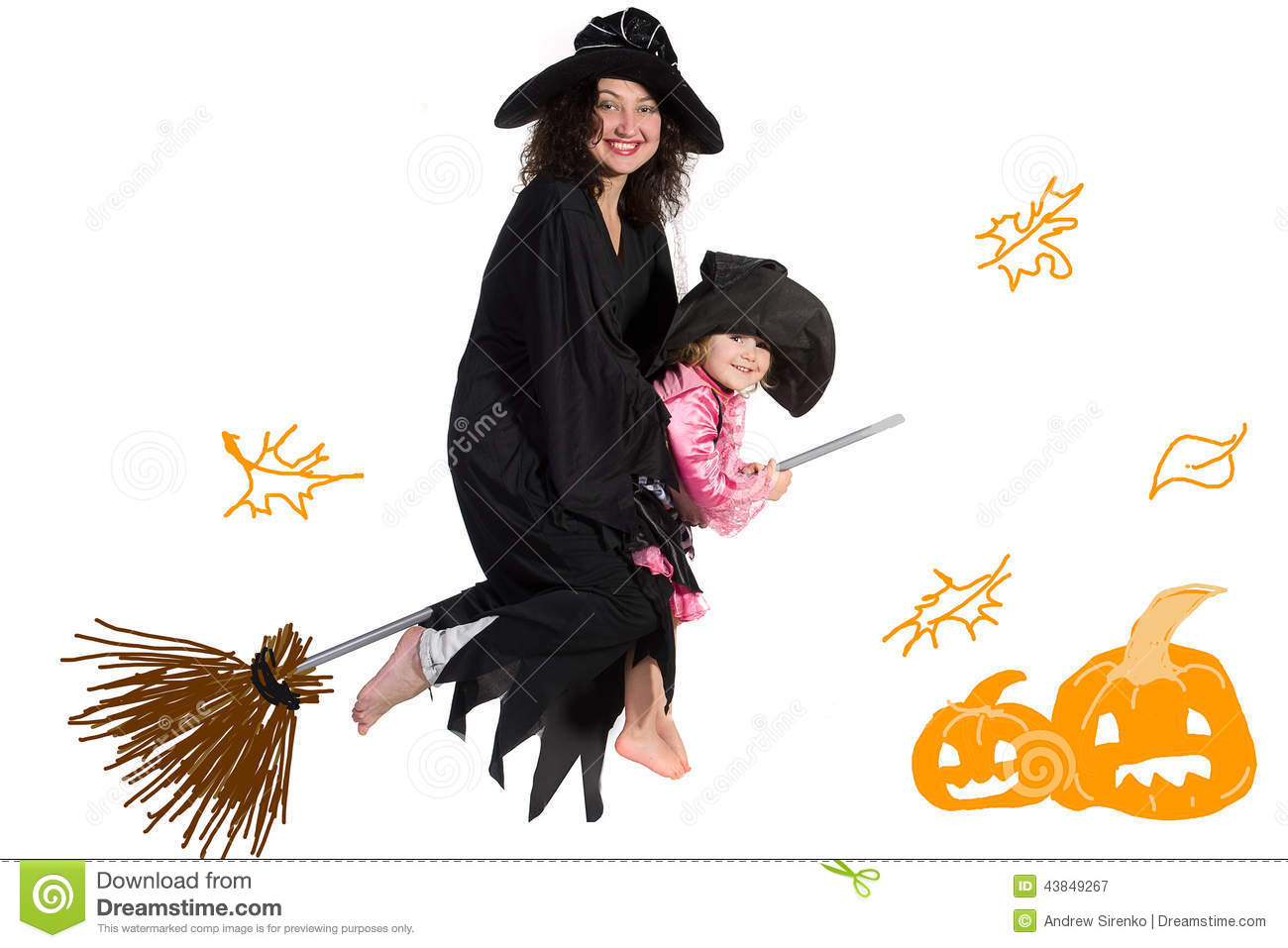 Mother And Daughter In Halloween Costumes Stock Photo - Image ...