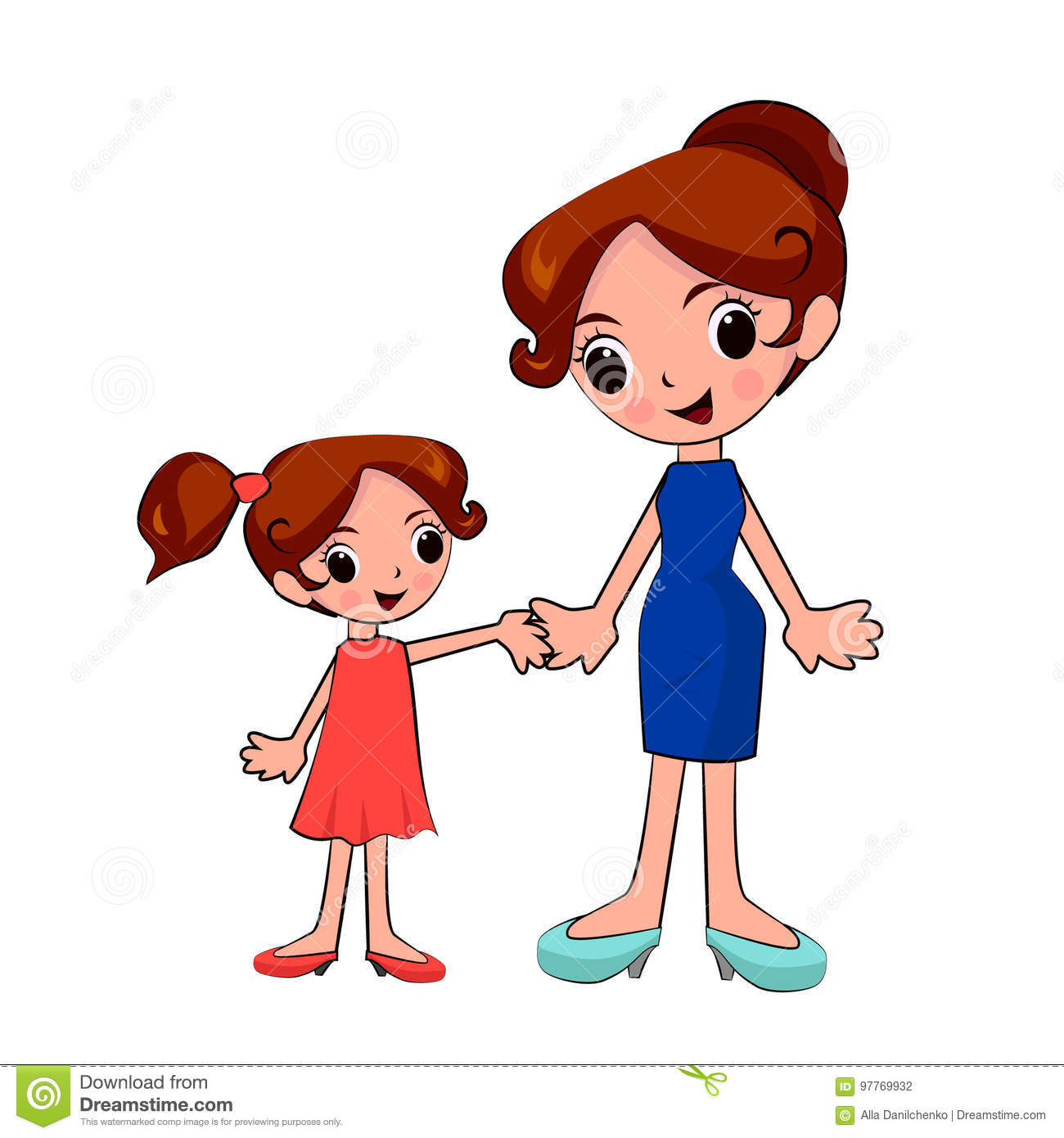 Mother And Daughter Holding Hands On A Walk Stock Vector