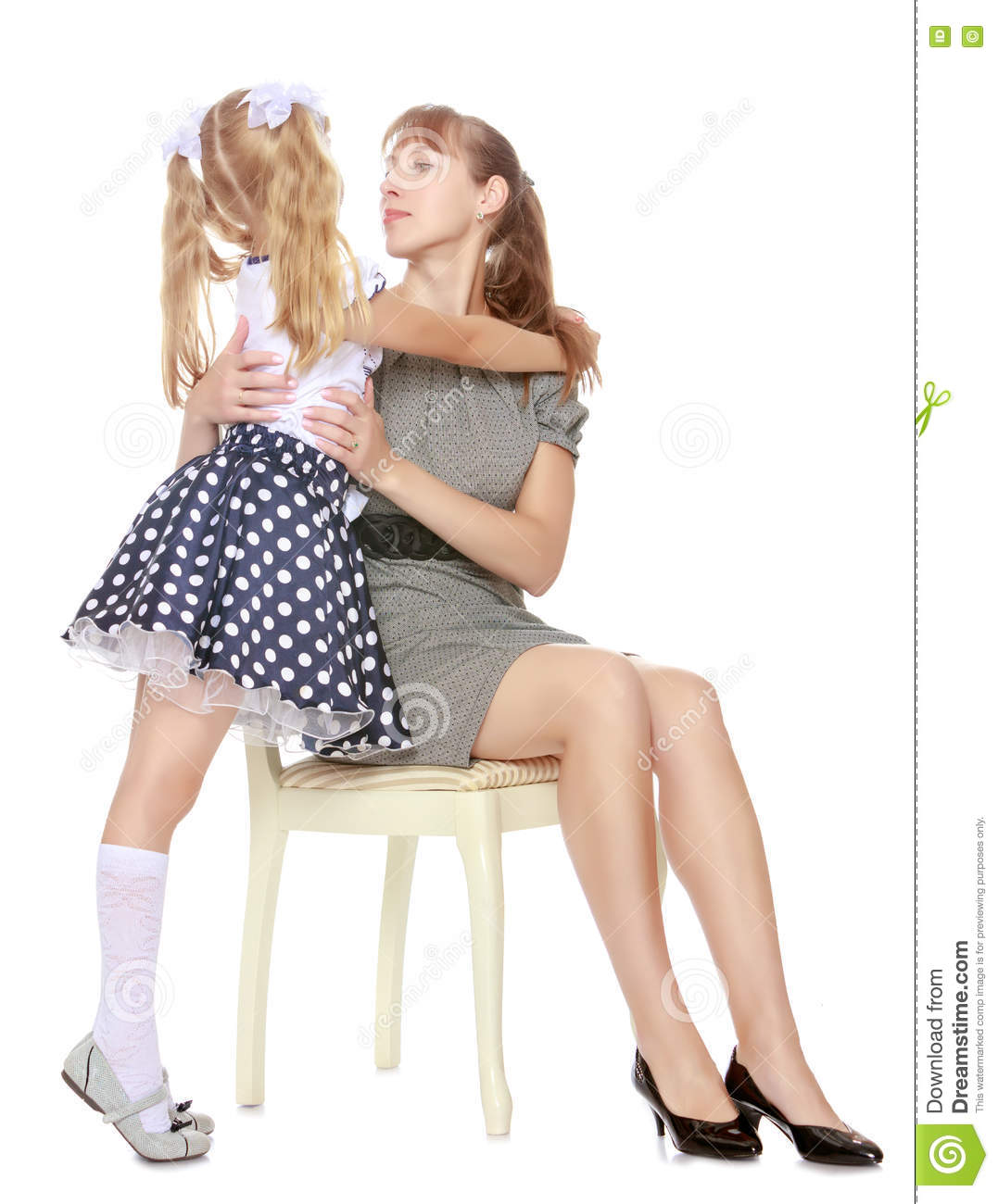 young daughter with nude mother