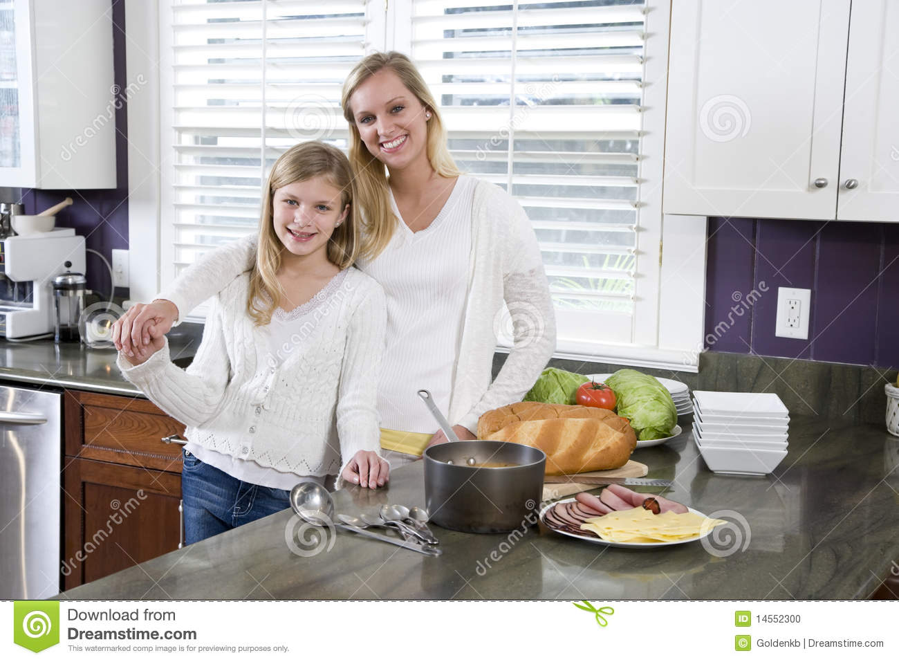Mother And Daughter In Kitchen Making Lunch Stock Photo Image Of Child Cooking 14552300