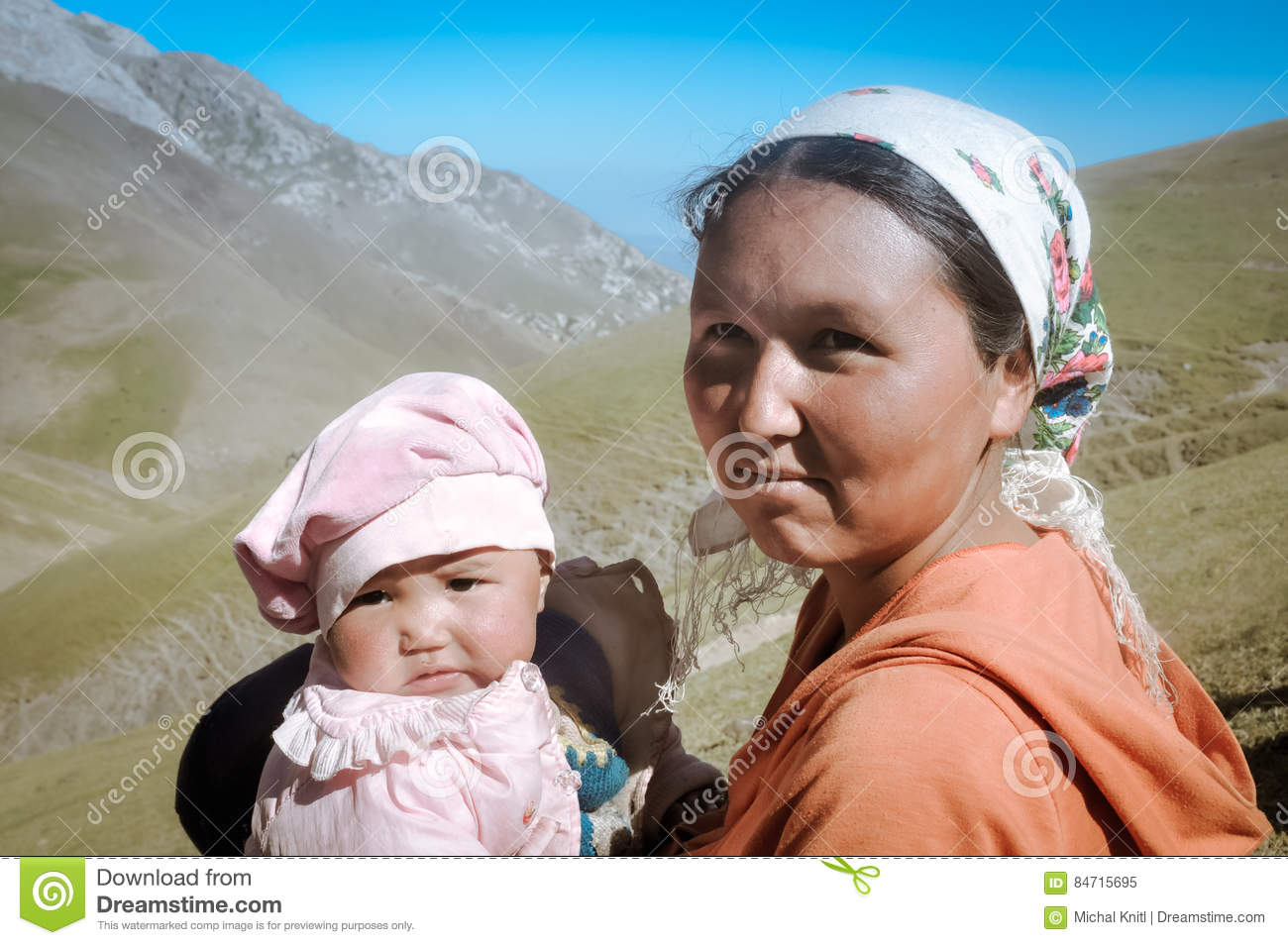 Mother And Daughter In Kyrgyzstan Editorial Image Image Of Adult