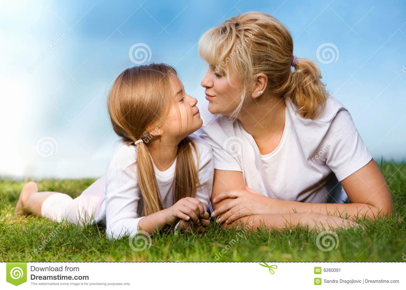 Mother and daughter at the meadow