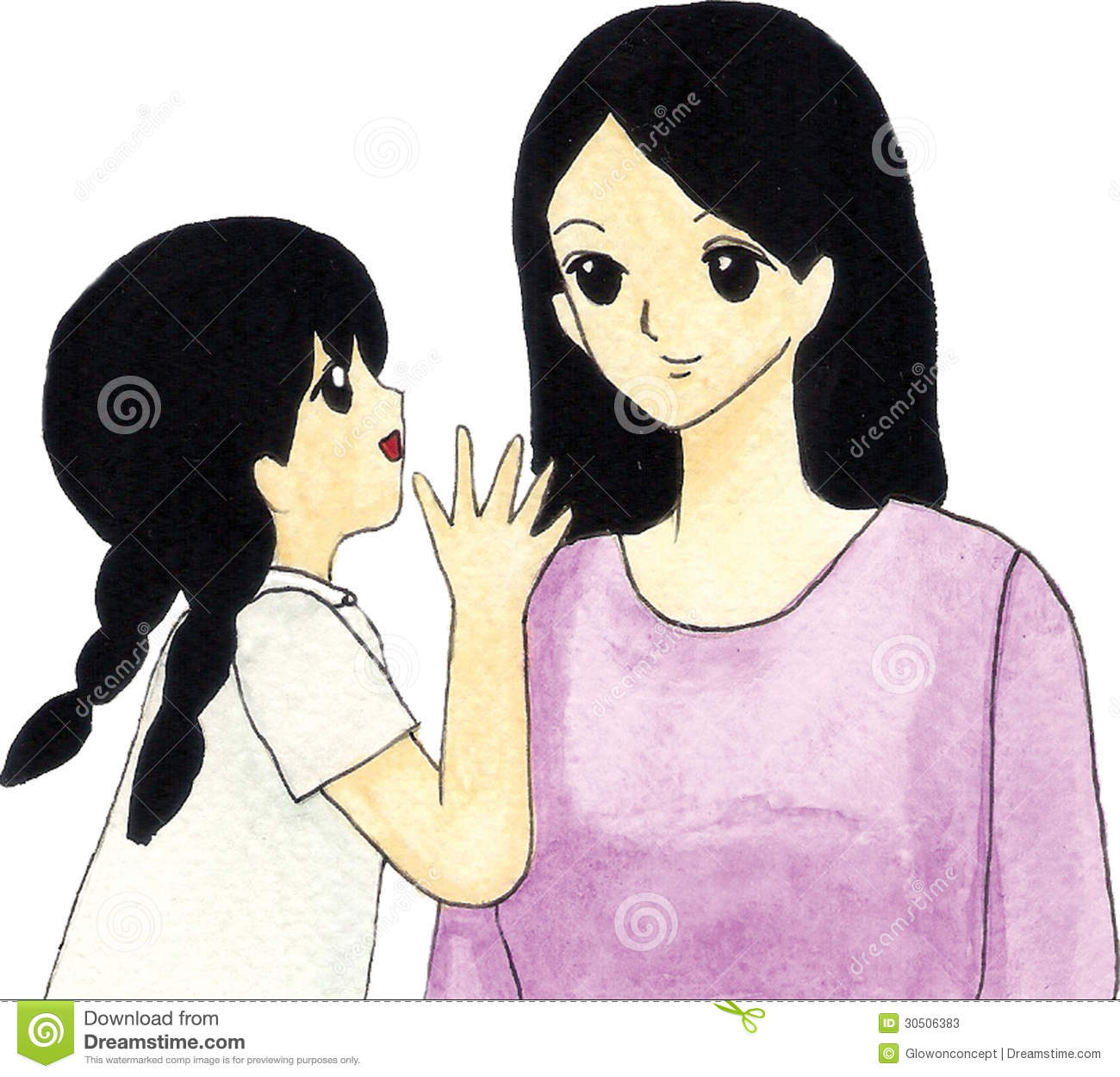 Mother And Daughter Cartoon Stock Illustration Illustration Of