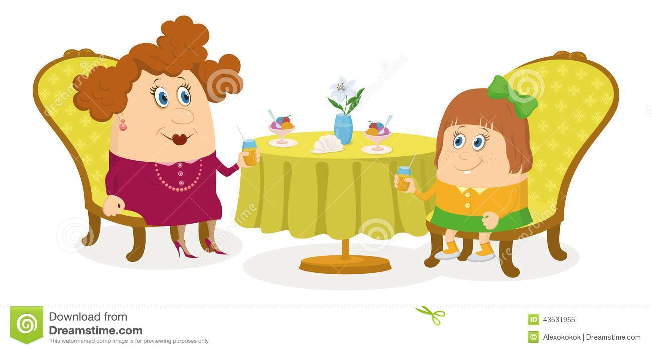 Mother And Daughter Near Table Isolated Stock Vector