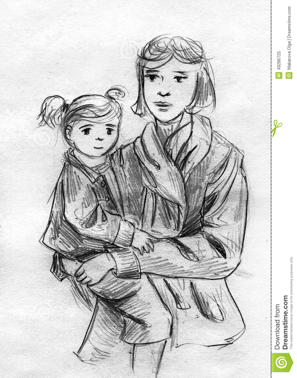 Mother and daughter pencil sketch