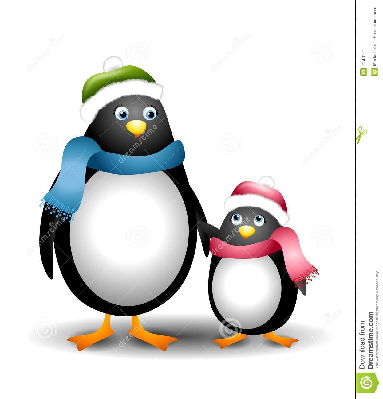 clip art illustration featuring a mother and daughter penguin theme ...