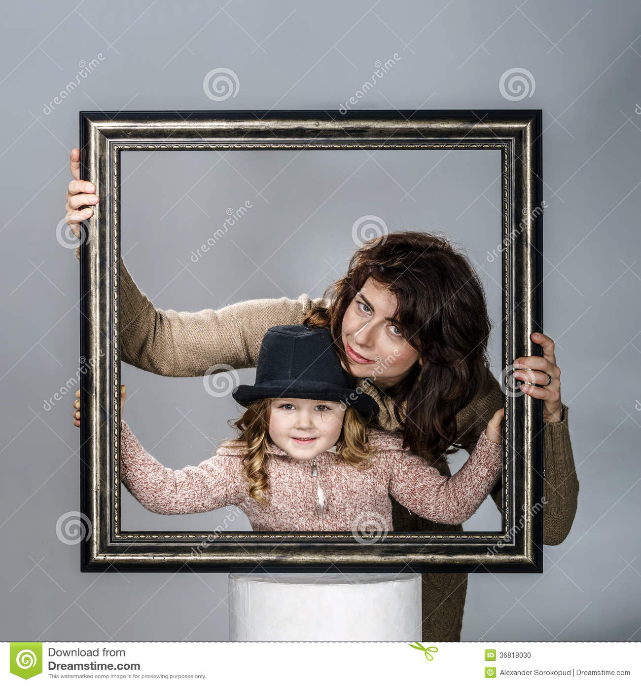 Mother And Daughter Posing With Frame Stock Photo Image Of Charm