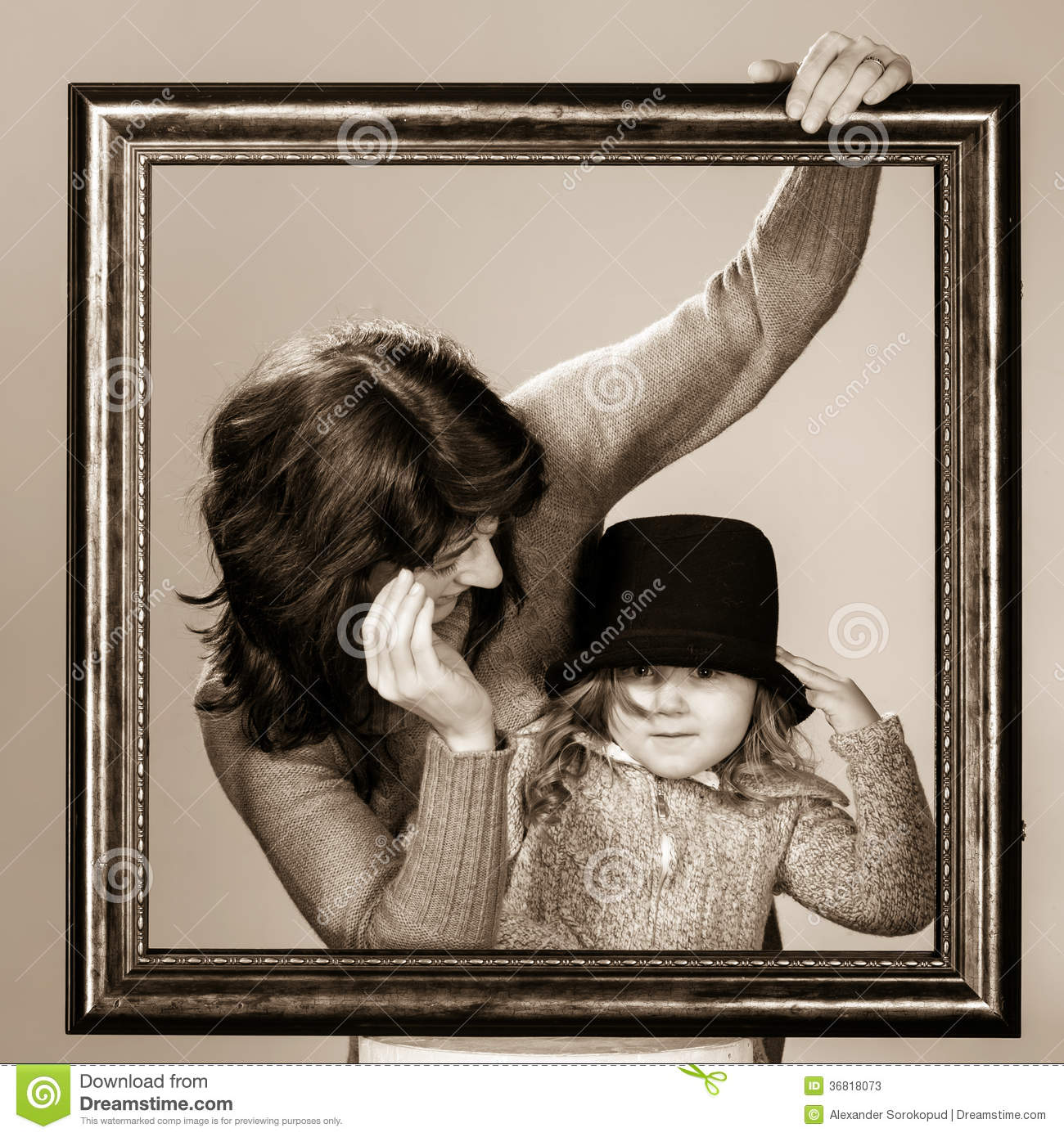Mother And Daughter Posing With Frame Stock Image Image Of