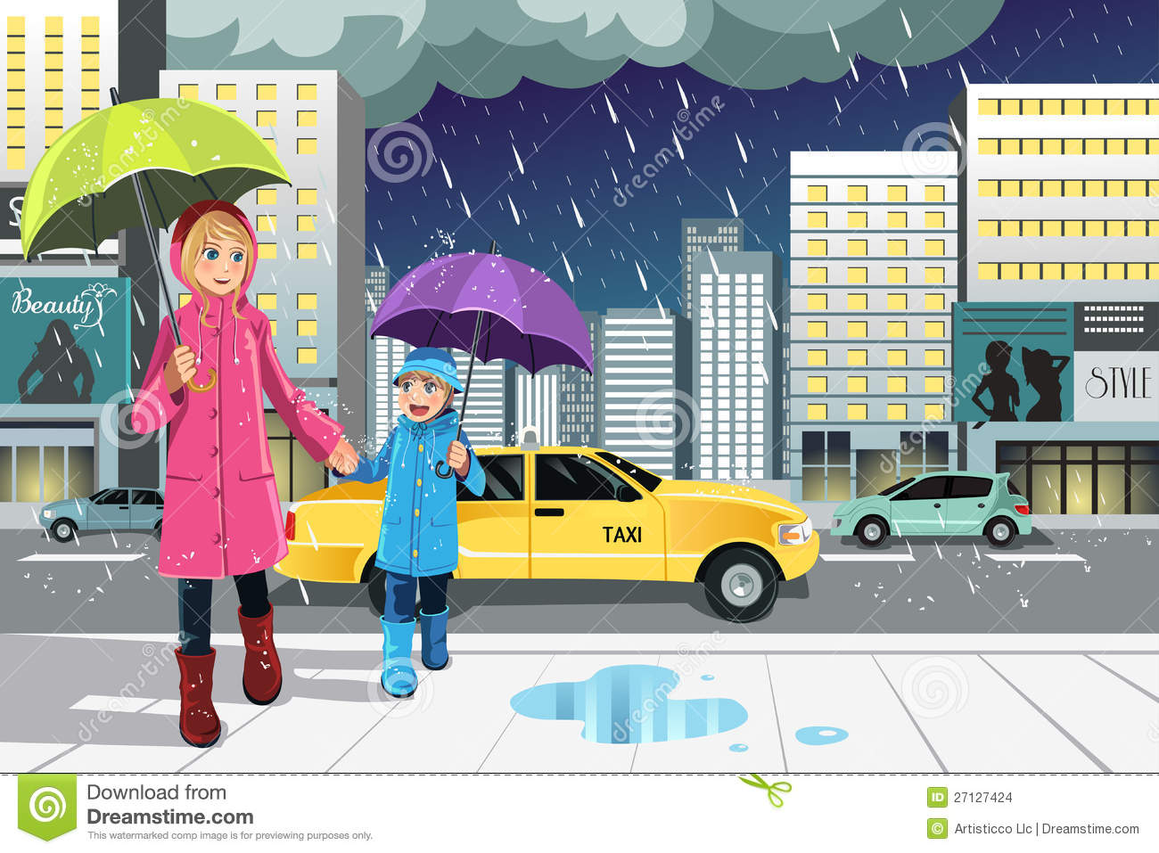 cartoon rainy season stock photos images pictures images mother daughter in the rain stock images