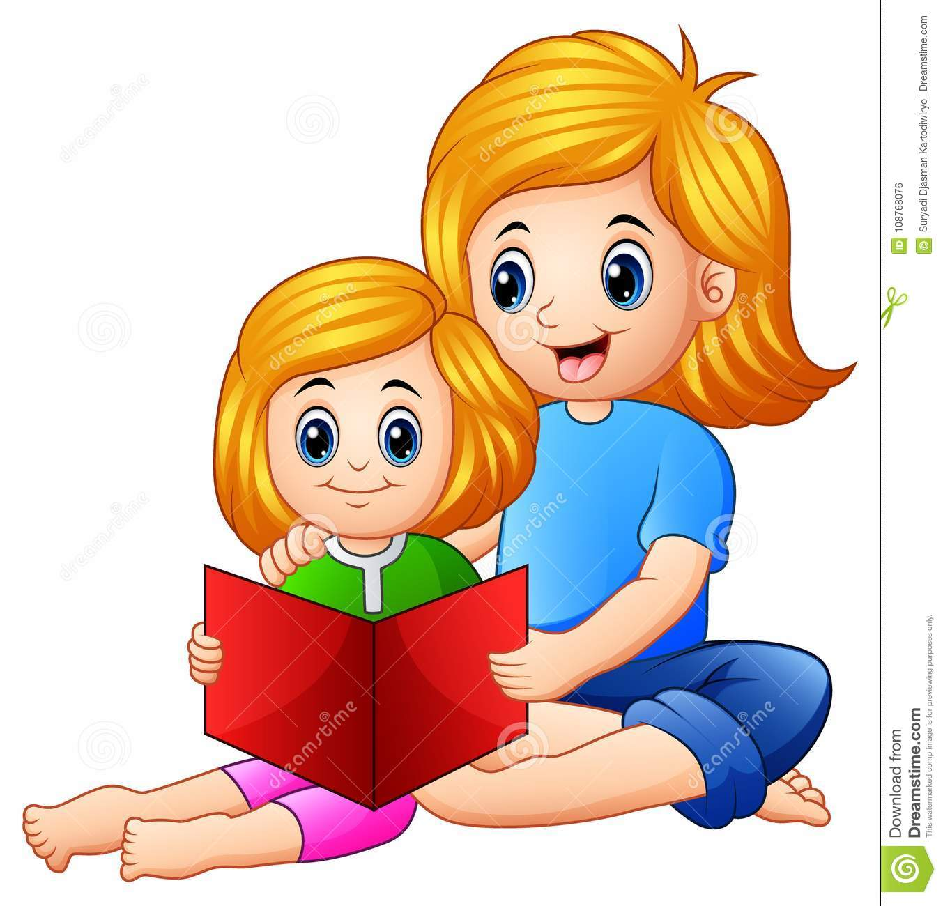 Mother and daughter reading book together on a white background