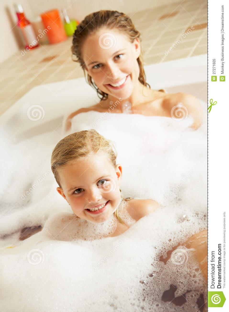 Mom and daughter naked in bath #10