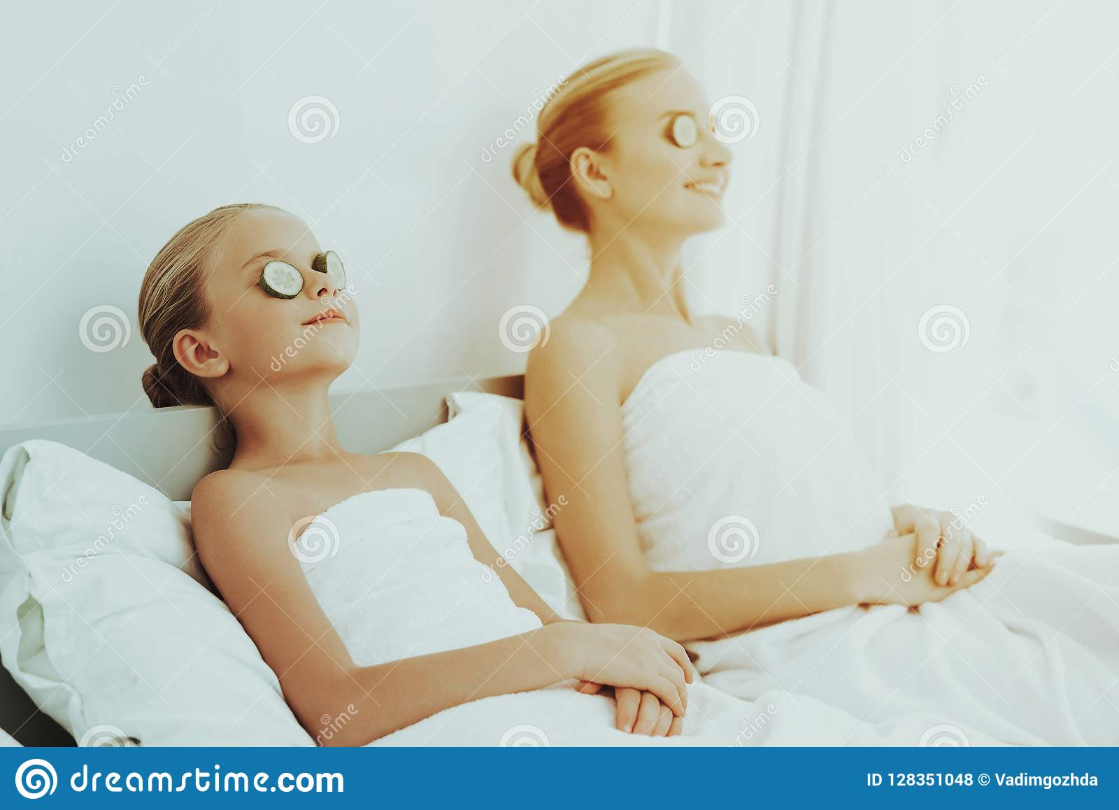 Mother With Daughter Are Resting. Spa Concept.