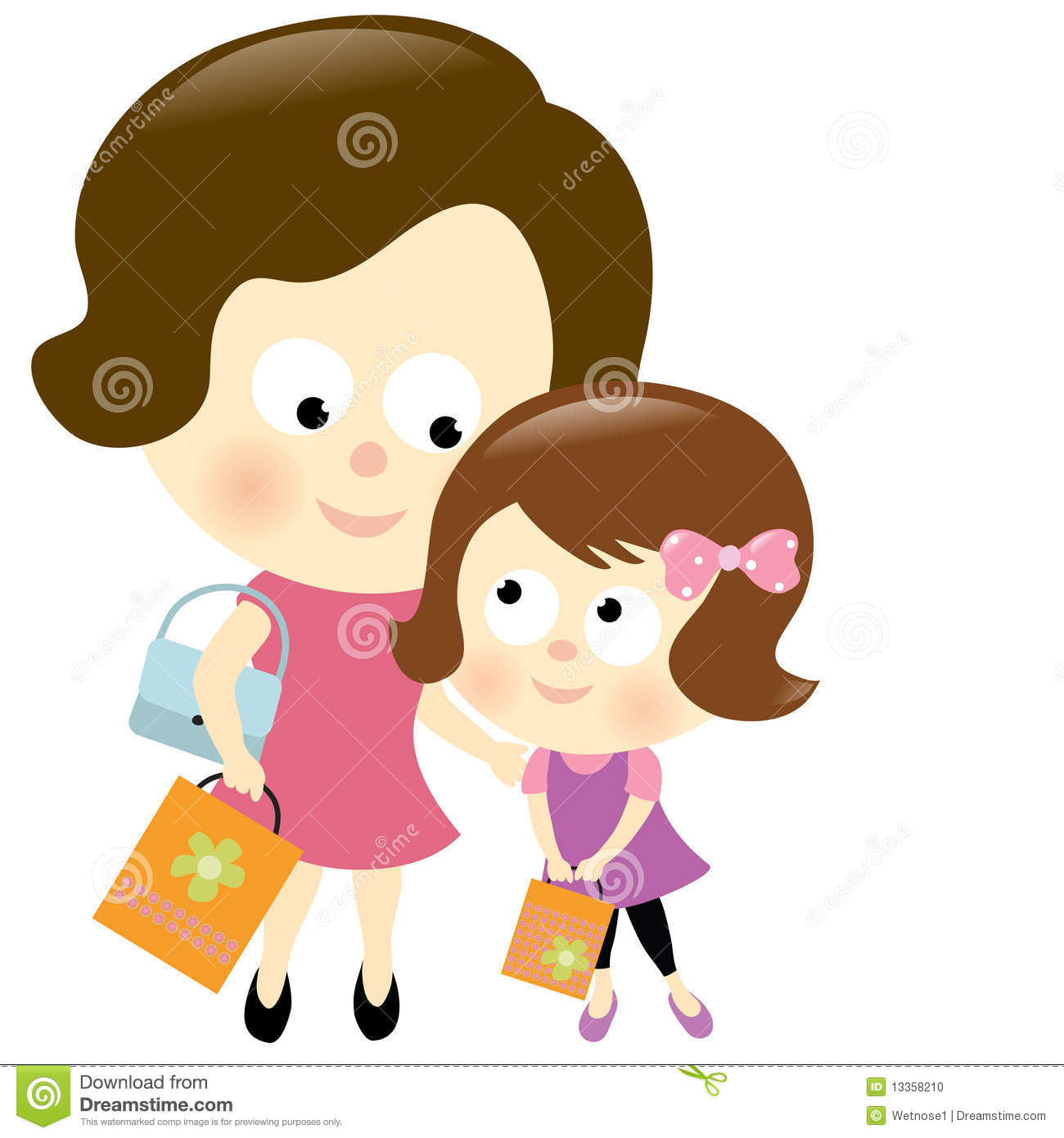 Mother And Daughter Shopping Stock Vector