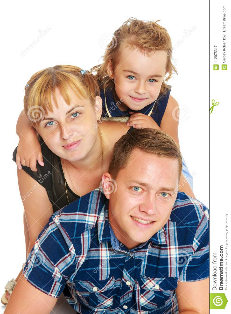 Mother And Daughter Sitting On Dad`s Back. Stock Image