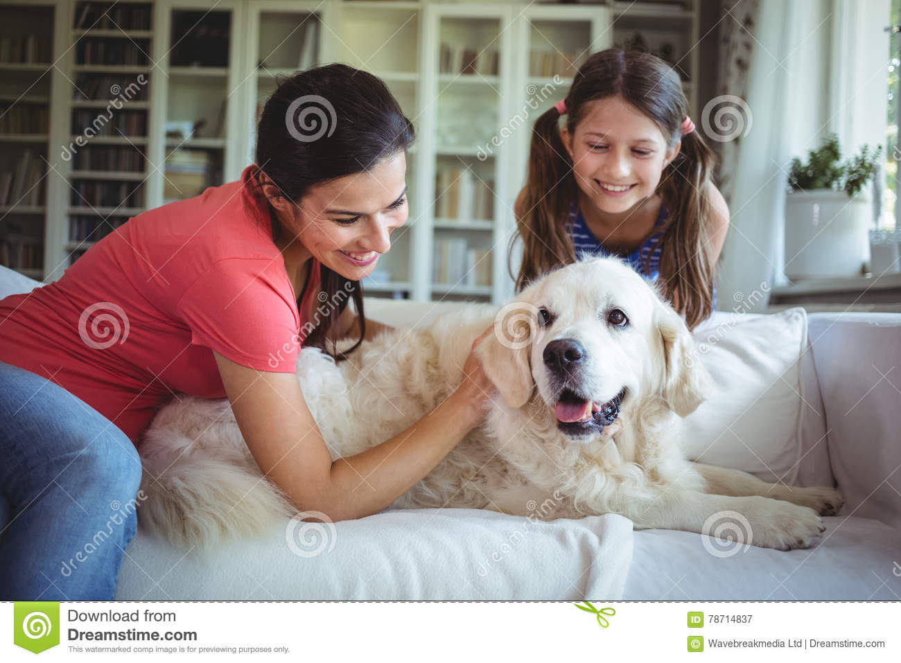 Mother And Daughter With A Dog Royalty Free Stock Photos ... |Dog Mom And Daughter