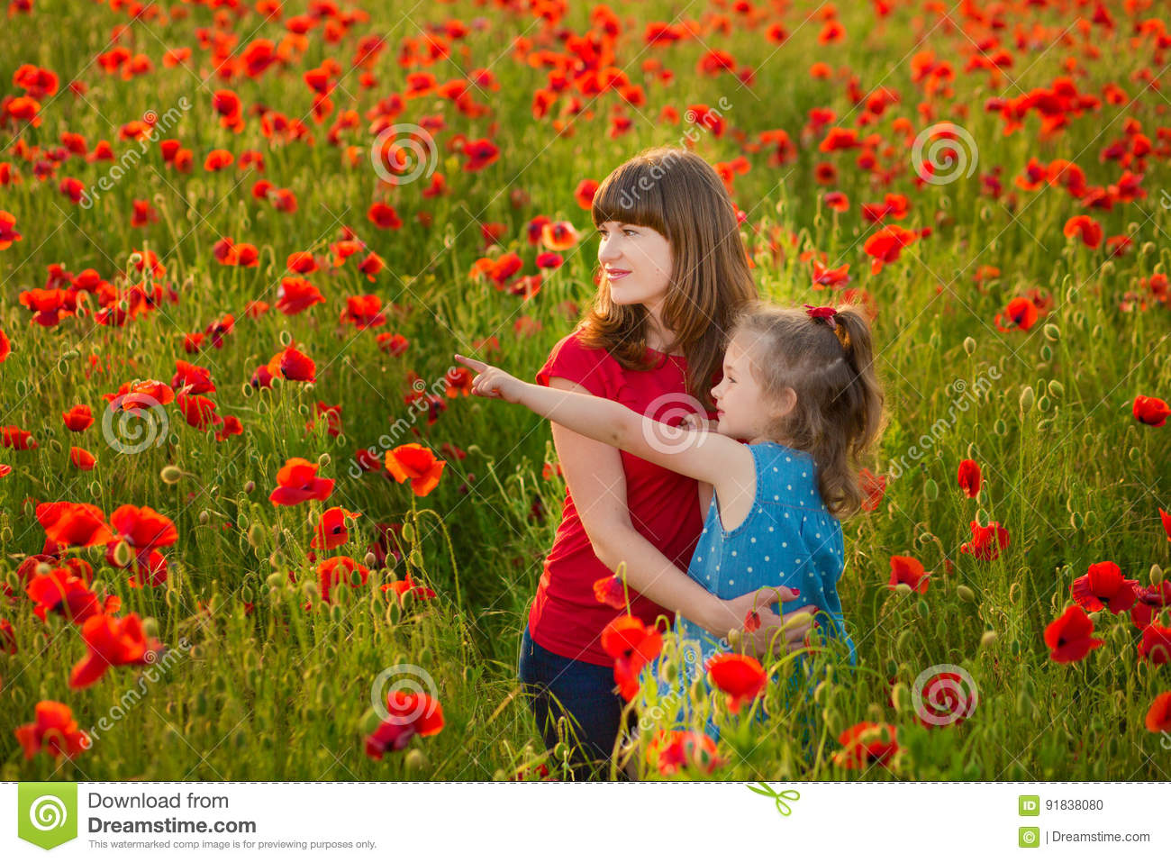 Download Mother And Daughter Smiling In A Poppy Field. The Picnic In The Poppy Field. Walk With Family In Poppy Field. The Cart Poppies Stock Photo - Image of caucasian, childhood: 91838080