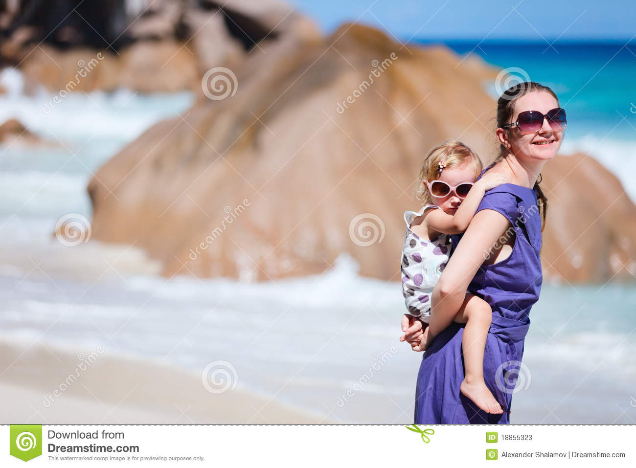 Young mother with her son on tropical beach vacation hot for Best mother daughter weekend getaways