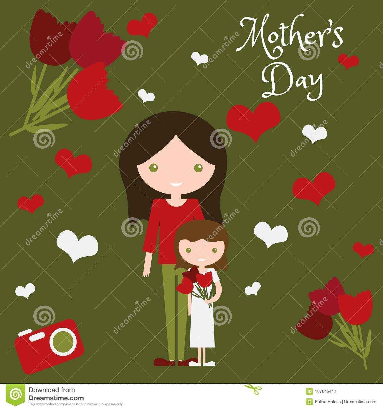 Mother day art design mom and daughter with flowers beautiful happiness family sweet little child baby and parent