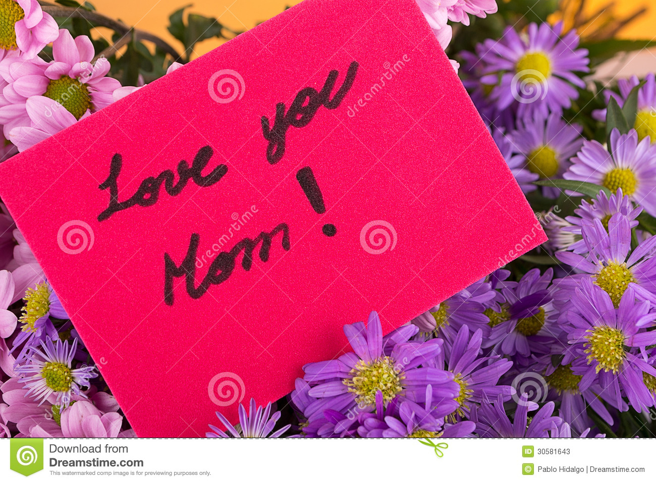 Mother Day Greeting Love You Mom Handwritten Stock Photos