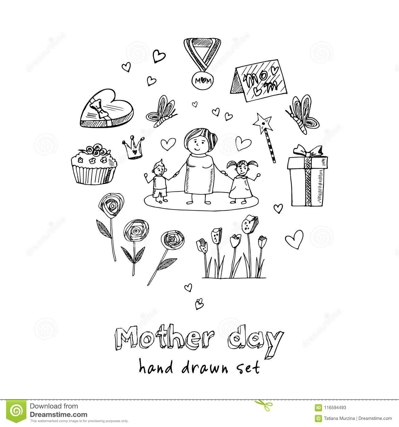 Mother Day Hand Drawn Doodle Set Sketches Vector Illustration For