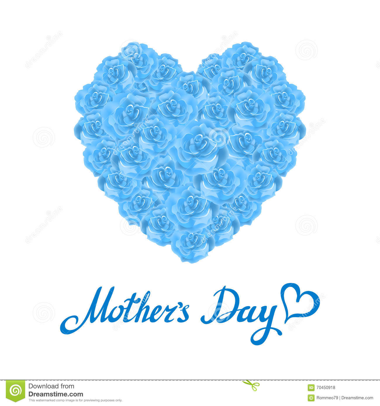 Mother day heart made of blue roses bouquet of blue roses for How are blue roses made