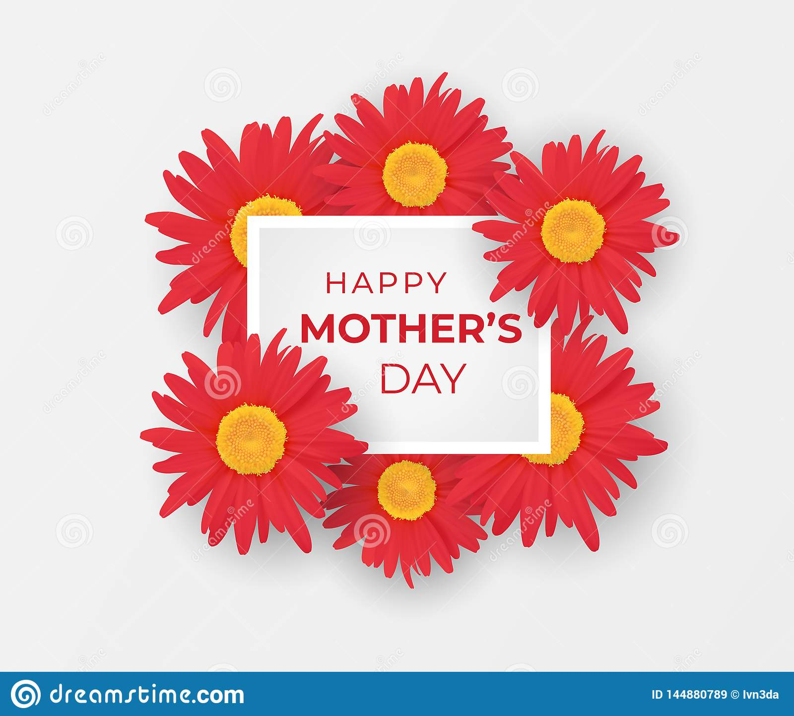 Mother Day Invitation With Bouquet Of Gerberas Stock Vector