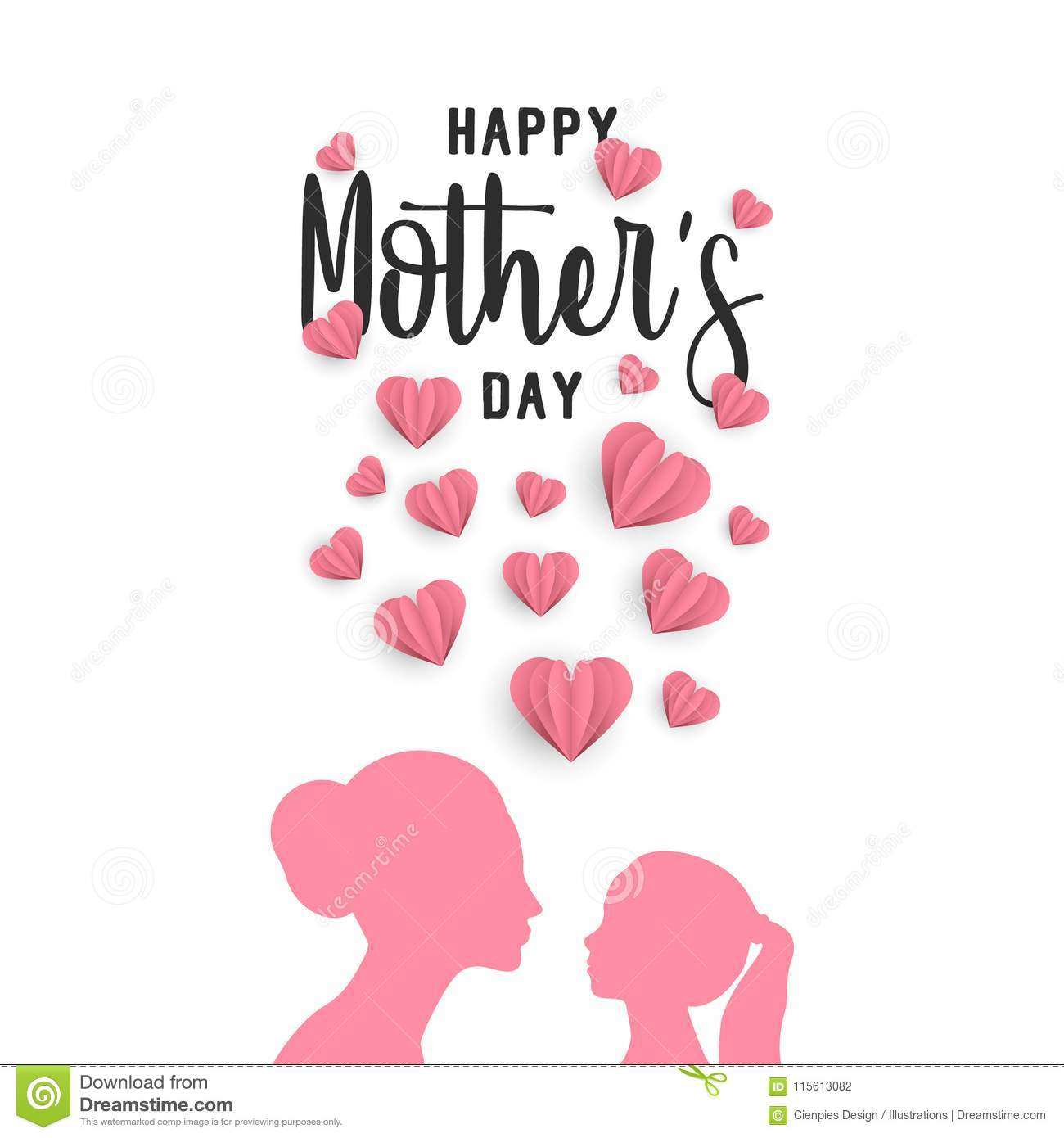 Mother Day Paper Art Greeting Card With Little Child Stock Vector