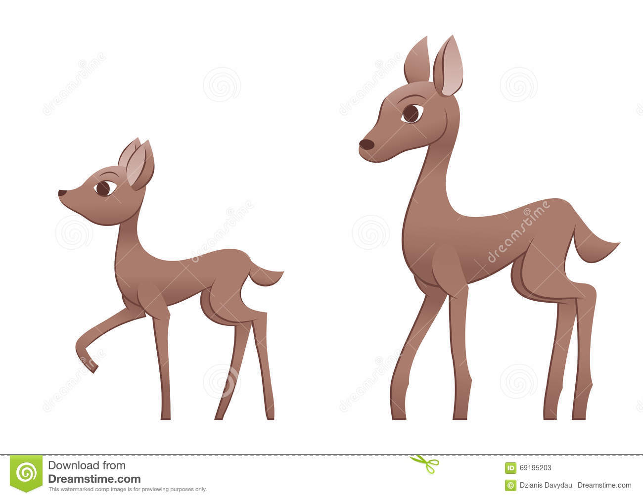 Mother Deer And Fawn Stock Vector - Image: 69195203