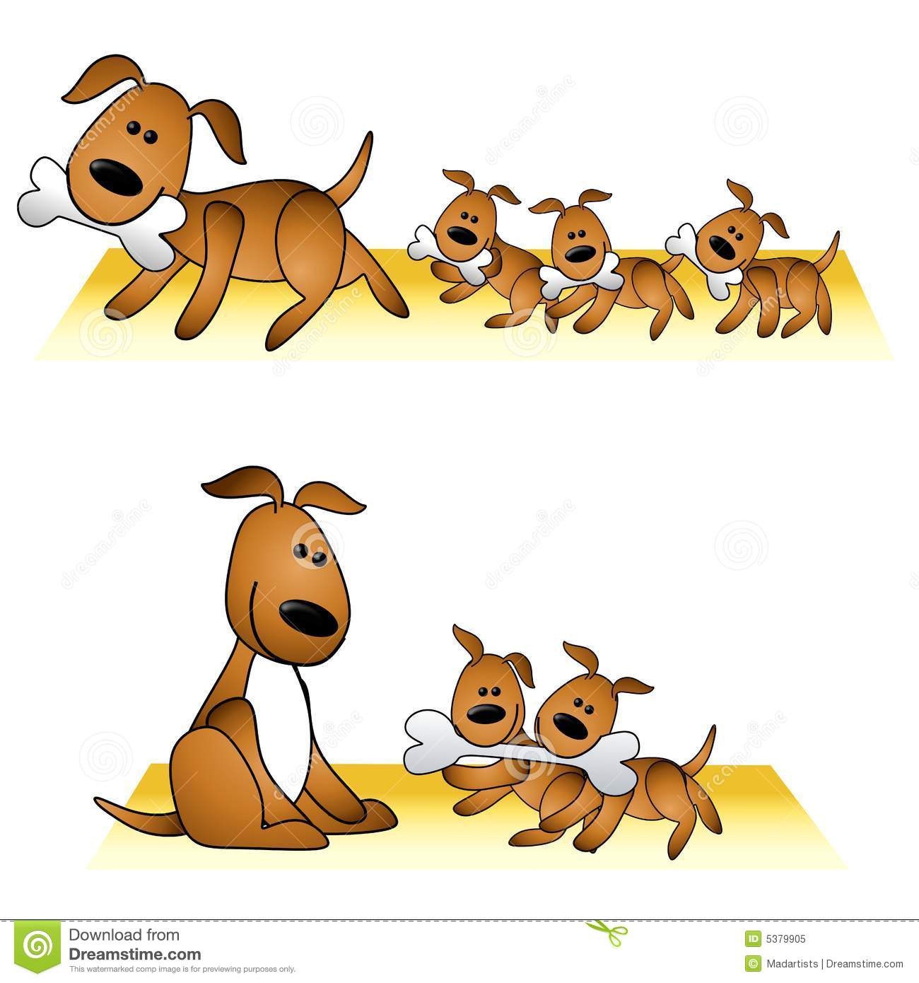 An illustration featuring a dog with her cute puppies in 2 different ...
